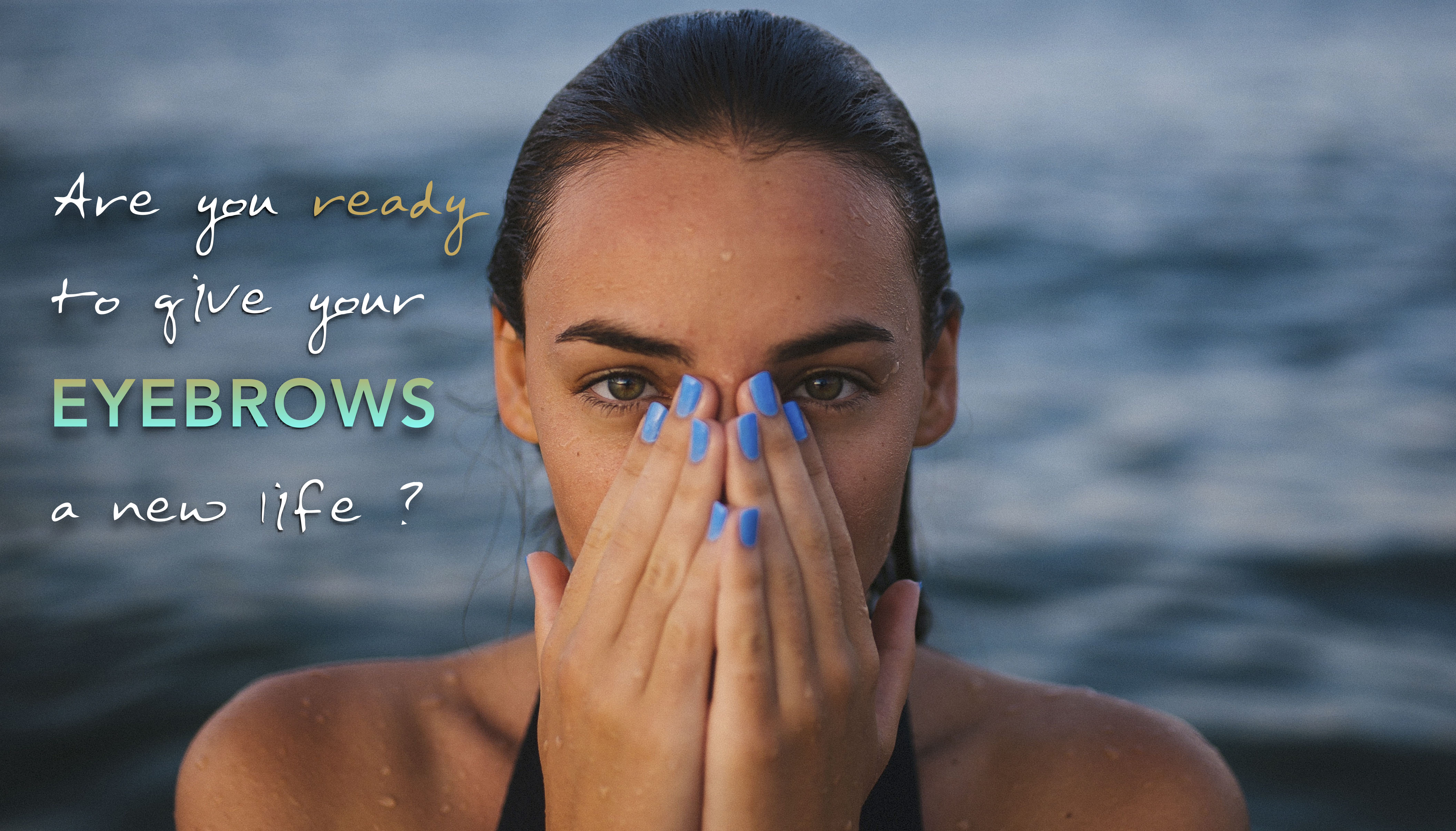 los angeles eyebrow microblading permanent makeup blue nails green eyes wet ocean girl pretty branding design